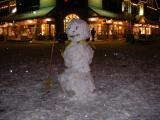 Snowman in downtown Banff